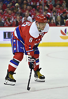 WASHINGTON, DC - MARCH 26: Washington Capitals left wing Alex Ovechkin (8) waits for a face-off during the Carolina Hurricanes vs. Washington Capitals NHL game March 26, 2019 at Capital One Arena in Washington, D.C.. (Photo by Randy Litzinger/Icon Sportswire)