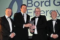At the Bord G&aacute;is Energy Munster GAA Sports Star of the Year Awards in The Malton Hotel, Killarney on Saturday night were front from left, Dave Kirwan, Managing Director, Bord Gais Energy, Darragh Egan, Tipperary, Intermediate Hurling, Ed Donnelly, Munster GAA PRO and Robert Frost, Chairman, Munster GAA.<br /> Picture by Don MacMonagle<br /> <br /> PR photo from Munster Council