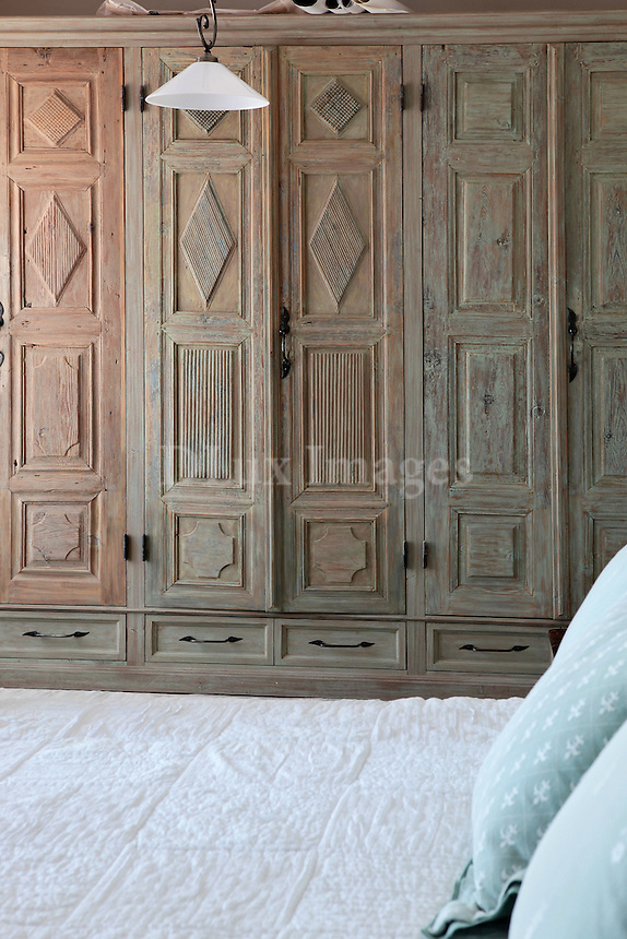 wood carved closet
