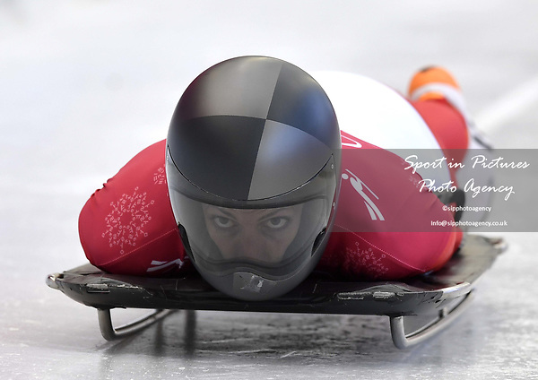 Janine Flock (AUT). Skeleton training. Alpensia sliding centrePyeongchang2018 winter Olympics. Alpensia. Republic of Korea. 13/02/2018. ~ MANDATORY CREDIT Garry Bowden/SIPPA - NO UNAUTHORISED USE - +44 7837 394578