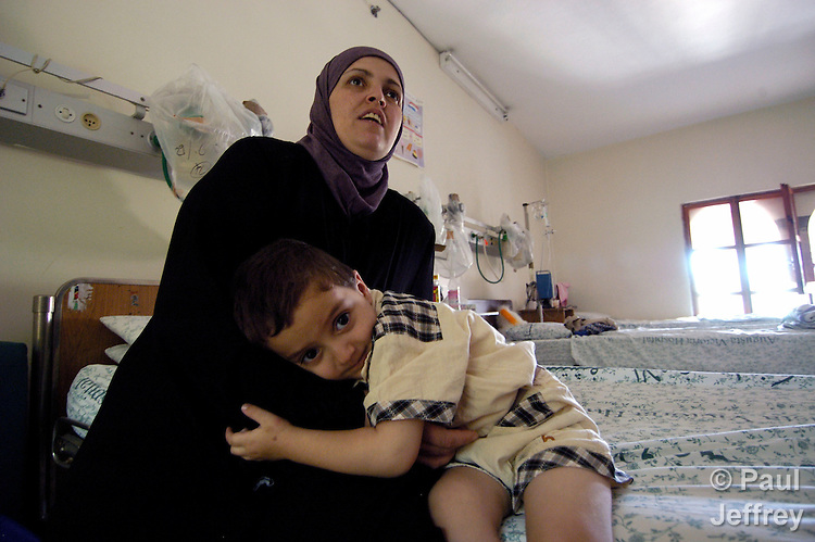 A three-year old Palestinian boy, Amr Qanadilo, was shot by Israeli snipers in September 2002, after which, accompanied by his mother Samar, he received treatment at East Jerusalem's Augusta Victoria Hospital, run by the Lutheran World Federation..