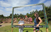 Pictured: Isabel Pearce 10 with younger brother Ben, 7. Saturday 13 August 2016<br />Re: Grow Wild event at  Furnace to Flowers site in Ebbw Vale, Wales, UK