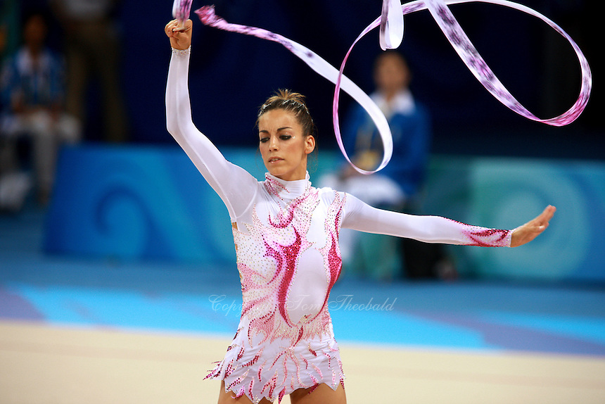 August 23, 2008; Beijing, China; Rhythmic gymnast Almudena Cid of Cid performs with ribbon on way to placing 8th in the All-Around final at 2008 Beijing Olympics. Almudena's 4th Olympics!.