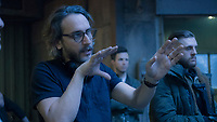 Director Fede Alvarez and Henchman on the set of The Girl in the Spider's Web (2018) <br /> *Filmstill - Editorial Use Only*<br /> CAP/RFS<br /> Image supplied by Capital Pictures