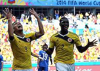 BELO HORIZONTE - BRASIL -14-06-2014. Teófilo Gutiérrez (Izq) jugador de Colombia (COL) celebra un gol anotado a Grecia (GRC) durante partido del Grupo C de la Copa Mundial de la FIFA Brasil 2014 jugado en el estadio Mineirao de Belo Horizonte./ Teofilo Gutierrez (L)player of Colombia (COL) celebrates a goal scored to Grece (GRC) during the macth of the Group C of the 2014 FIFA World Cup Brazil played at Mineirao stadium in Belo Horizonte. Photo: VizzorImage / Alfredo Gutiérrez / Contribuidor