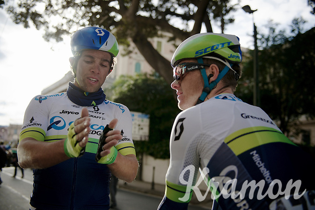 Michael Matthews (AUS/Orica-GreenEDGE) who came in 3rd, explains to teammate Simon Clarke (AUS/Orica-GreenEDGE) what exactly the difference was at the finish line<br /> <br /> 106th Milano - San Remo 2015