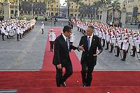 LIMA,PERU ,18/04/2013. El Presidente de la Rep&uacute;blica, Ollanta Humala Tasso, recibe en Palacio de Gobierno a su hom&oacute;logo de la Rep&uacute;blica Portuguesa, An&iacute;bal Cavaco Silva, quien se encuentra en el pa&iacute;s realizando una Visita Oficial. <br /> &copy; ANDINA/NortePhoto