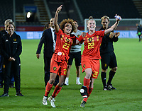 20190903 - LEUVEN , BELGIUM : Belgian Kassandra Missipo and Laura Deloose pictured celebrating after winning the female soccer game between the Belgian Red Flames and Croatia , the first womensoccer game for Belgium in the qualification for the European Championship round in group H for England 2021, Tuesday 3 th September 2019 at the King Power Stadion Den Dreef in Leuven , Belgium. PHOTO SPORTPIX.BE | DAVID CATRY