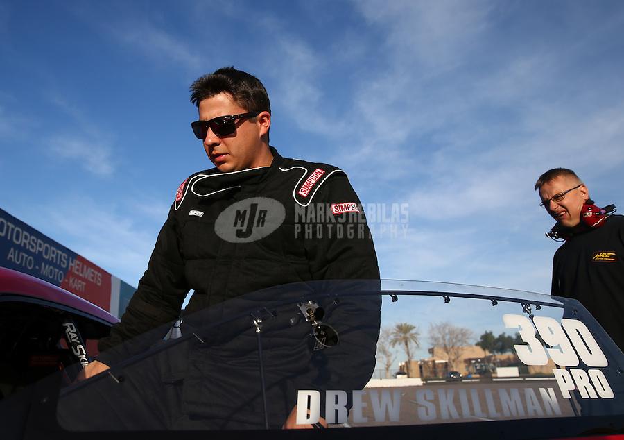 Feb 3, 2015; Chandler, AZ, USA; NHRA pro stock driver Drew Skillman during testing at Wild Horse Motorsports Park. Mandatory Credit: Mark J. Rebilas-USA TODAY Sports