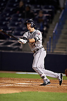 Lakeland Flying Tigers third baseman Zac Shepherd (4) follows through on a swing during a game against the Tampa Yankees on April 7, 2017 at George M. Steinbrenner Field in Tampa, Florida.  Lakeland defeated Tampa 5-0.  (Mike Janes/Four Seam Images)