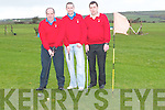 GOLFERS: John White, Michael Wall and Ted Aherne of An Post Golfing Society practising their golf at The Kerries Golfing Driving Range on Friday..