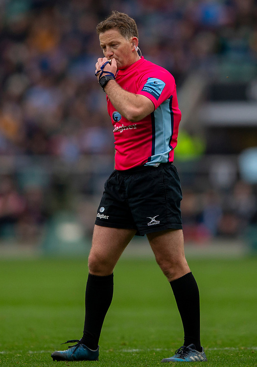 Referee JP Doyle<br /> <br /> Photographer Bob Bradford/CameraSport<br /> <br /> Gallagher Premiership - Bath Rugby v Bristol Bears - Saturday 6th April 2019 - The Recreation Ground - Bath<br /> <br /> World Copyright © 2019 CameraSport. All rights reserved. 43 Linden Ave. Countesthorpe. Leicester. England. LE8 5PG - Tel: +44 (0) 116 277 4147 - admin@camerasport.com - www.camerasport.com