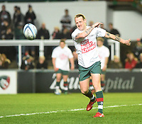 Leicester Tigers' Sam Harrison wearing a 'Matt Hampson foundation' t shirt during the pre match warm up<br /> <br /> Photographer Hannah Fountain/CameraSport<br /> <br /> Gallagher Premiership - Leicester Tigers v Northampton Saints - Friday 22nd March 2019 - Welford Road - Leicester<br /> <br /> World Copyright © 2019 CameraSport. All rights reserved. 43 Linden Ave. Countesthorpe. Leicester. England. LE8 5PG - Tel: +44 (0) 116 277 4147 - admin@camerasport.com - www.camerasport.com
