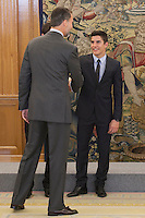 King Felipe VI of Spain receives moto riders Marc Marquez during Royal Audience at Zarzuela Palace in Madrid, Spain. November 20, 2014. (ALTERPHOTOS/Victor Blanco) /NortePhoto.com<br />