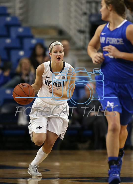 Nevada's Kelsey Kaelin brings the ball up the middle against Air Force during a women's basketball game in Reno, Nev., on Saturday, Jan. 9, 2016. Nevada won 68-57.<br /> Photo by Cathleen Allison