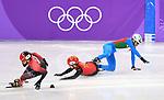 Tianyu Han (CHN) and Yuri Confortola (ITA) fall. Mens 1,500m. Short track. Gangneung ice arena. Pyeongchang2018 winter Olympics. Gangneung. Republic of Korea. 10/02/2018. ~ MANDATORY CREDIT Garry Bowden/SIPPA - NO UNAUTHORISED USE - +44 7837 394578