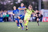 Boston, MA - Saturday April 29, 2017: Tiffany Weimer and Kristen McNabb during a regular season National Women's Soccer League (NWSL) match between the Boston Breakers and Seattle Reign FC at Jordan Field.