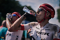 Michael Gogl (AUT/Trek-Segafredo) hydrating after a hot day over dusted cobbles<br /> <br /> Stage 9: Arras Citadelle &gt; Roubaix (154km)<br /> <br /> 105th Tour de France 2018<br /> &copy;kramon