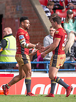 Picture by Allan McKenzie/SWpix.com - 22/04/2018 - Rugby League - Ladbrokes Challenge Cup - York City Knight v Catalans Dragons - Bootham Crescent, York, England - Jodie Broughton is congratulated by Tony Gigot on scoring a try.