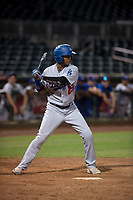 AZL Dodgers center fielder Kevin Aponte (49) at bat during an Arizona League game against the AZL Indians 2 at Goodyear Ballpark on July 12, 2018 in Goodyear, Arizona. The AZL Indians 2 defeated the AZL Dodgers 2-1. (Zachary Lucy/Four Seam Images)