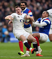 Chris Ashton of England is tackled. Guinness Six Nations match between England and France on February 10, 2019 at Twickenham Stadium in London, England. Photo by: Patrick Khachfe / Onside Images