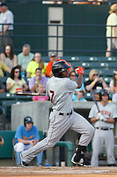 Frederick Keys outfielder Gregory Lorenzo (7) in action during a game against the Myrtle Beach Pelicans at Ticketreturn.com Field at Pelicans Ballpark on May 21, 2015 in Myrtle Beach, South Carolina.  Frederick defeated Myrtle Beach 4-3. (Robert Gurganus/Four Seam Images)