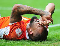 Blackpool's Kyle Vassell winces in pain after going down injured<br /> <br /> Photographer Kevin Barnes/CameraSport<br /> <br /> Football - The EFL Sky Bet League Two - Blackpool v Exeter City - Saturday 6th August 2016 - Bloomfield Road - Blackpool<br /> <br /> World Copyright &copy; 2016 CameraSport. All rights reserved. 43 Linden Ave. Countesthorpe. Leicester. England. LE8 5PG - Tel: +44 (0) 116 277 4147 - admin@camerasport.com - www.camerasport.com