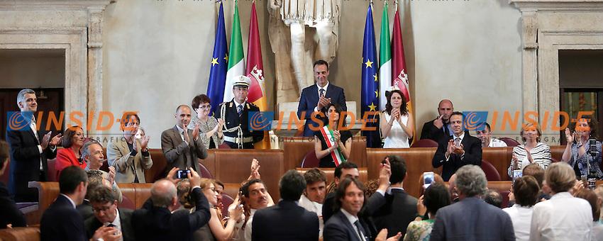 Virginia Raggi<br /> Roma 07-07-2016 Campidoglio, Prima riunione dell'Assemblea Capitolina presieduta dalla neo eletta sindaca di Roma<br /> Campidoglio, first session of the Capitoline Assembly with the new Mayor of Rome<br /> Photo Samantha Zucchi Insidefoto