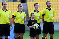 The match officials before the the international women's football match between the New Zealand Football Ferns and Japan at Westpac Stadium in Wellington, New Zealand on Sunday, 10 May 2018. Photo: Dave Lintott / lintottphoto.co.nz