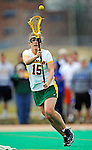 5 April 2008: University of Vermont Catamounts' Attackman Tori Wasson, a Junior from Lake Forest, IL, in action against the University at Albany Great Danes at Moulton Winder Field, in Burlington, Vermont. With only seconds left in regulation time, the Catamounts rallied to defeat the visiting Danes 11-10 in America East conference play...Mandatory Photo Credit: Ed Wolfstein Photo