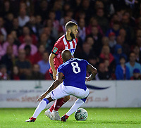 Lincoln City's Jorge Grant vies for possession with Everton's Fabian Delph<br /> <br /> Photographer Andrew Vaughan/CameraSport<br /> <br /> The Carabao Cup Second Round - Lincoln City v Everton - Wednesday 28th August 2019 - Sincil Bank - Lincoln<br />  <br /> World Copyright © 2019 CameraSport. All rights reserved. 43 Linden Ave. Countesthorpe. Leicester. England. LE8 5PG - Tel: +44 (0) 116 277 4147 - admin@camerasport.com - www.camerasport.com