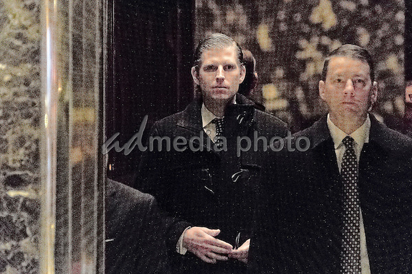 Eric Trump is seen upon his arrival in the lobby of Trump Tower in New York, NY, USA on December 14, 2016. Photo Credit: Albin Lohr-Jones/CNP/AdMedia