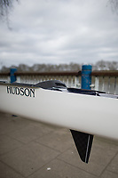 Mortlake/Chiswick, GREATER LONDON. United Kingdom Oxford University Women's Boat  Club, OUWBC vs Molesey BC,  Pre Boat Race Fixture, 2017 Boat Race, The Championship Course, Putney to Mortlake on the River Thames. Fin and Rudder combination. Hudson Boats<br />