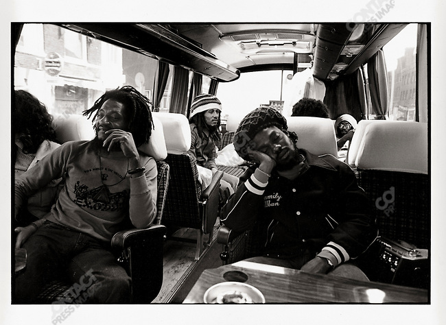 "Bob Marley and The Wailers on thier tour bus during their Exodus Tour in Europe.  PIctured here, Alvin ""Secco"" Patterson and Aston ""Family Man"" Barrett.  May 11, 1977."