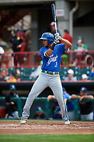 Hartford Yard Goats center fielder Omar Carrizales (19) at bat during a game against the Erie SeaWolves on August 6, 2017 at UPMC Park in Erie, Pennsylvania.  Erie defeated Hartford 9-5.  (Mike Janes/Four Seam Images)