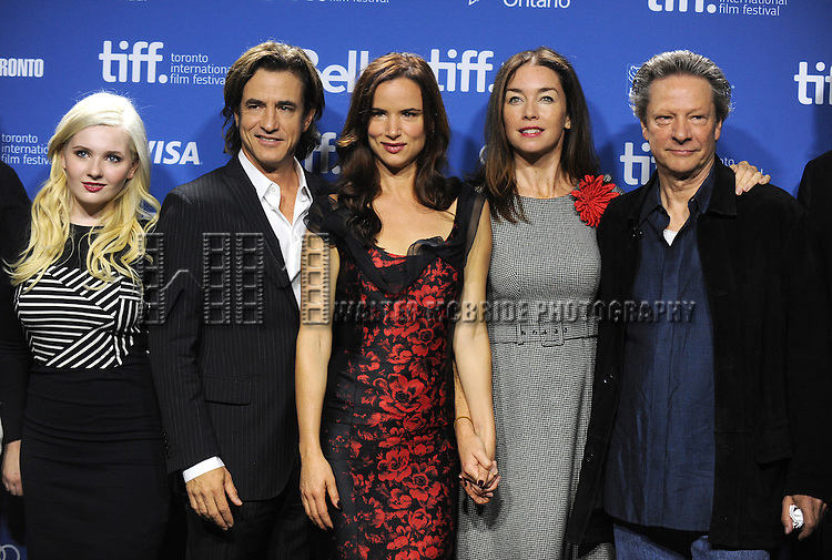 """Abigail Breslin, Dermot Mulroney, Juliette Lewis, Julianne Nicholson and Chris Cooper attending the 2013 Tiff Film Festival Photo Call for """"August: Osage County""""  at the Tiff Bell Lightbox on September 10, 2013 in Toronto, Canada."""