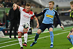 15.02.2020, Merkur Spiel-Arena, Duesseldorf, GER, 1. BL, Fortuna Duesseldorf vs. Borussia Moenchengladbach, DFL regulations prohibit any use of photographs as image sequences and/or quasi-video<br /> <br /> im Bild / picture shows: v. li. im Zweikampf Rouwen Hennings (#28, Fortuna Duesseldorf) Oscar Wendt (#17, Borussia Moenchengladbach) <br /> <br /> Foto © nordphoto/Mauelshagen