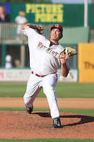 Wisconsin Timber Rattlers pitcher Cody Ponce (36) delivers a pitch during a Midwest League game against the Quad Cities River Bandits on July 17th, 2015 at Fox Cities Stadium in Appleton, Wisconsin. Quad Cities defeated Wisconsin 4-2. (Brad Krause/Four Seam Images)