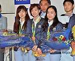 (L-R) Ai Fukuhara, Kasumi Ishikawa, Mima Ito (JPN), AUGUST 20, 2016 - Table Tennis : Rio 2016 Summer Olympic Games table tennis women's team bronze medalists Ai Fukuhara, Kasumi Ishikawa and Mima Ito arrive at Tokyo International Airport in Tokyo, Japan, on August 20, 2016. (Photo by AFLO)