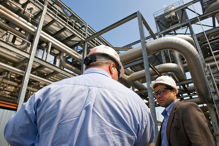 Tom Perriello, D-VA., gets a tour of the Tenaska Virginia Generating Station near Scottsville from Sam Graham plant manager. The power plant is a gas buring power plant that has low CO2 emissions. Aug 17, 2009.