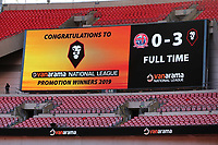 The scoreboard with a message congratulating Salford City on their victory during AFC Fylde vs Salford City, Vanarama National League Football Promotion Final at Wembley Stadium on 11th May 2019