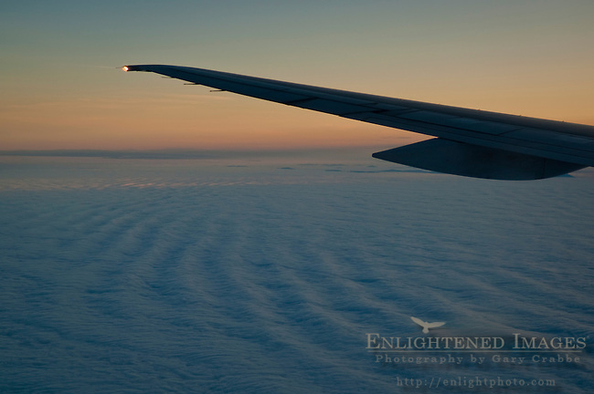 Low level stratus clouds at sunrise over the Pacific Ocean
