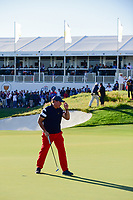 Phil Mickelson (USA) sinks his putt on 14 during round 4 Singles of the 2017 President's Cup, Liberty National Golf Club, Jersey City, New Jersey, USA. 10/1/2017. <br /> Picture: Golffile | Ken Murray<br /> <br /> All photo usage must carry mandatory copyright credit (&copy; Golffile | Ken Murray)