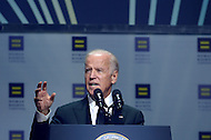 Washington, DC - October 3, 2015: U.S. Vice President Joe Biden speaks at the Human Rights Campaign's 19th annual National Dinner held at the Washington Convention Center in the District of Columbia, October 3, 2015. (Photo by Don Baxter/Media Images International)