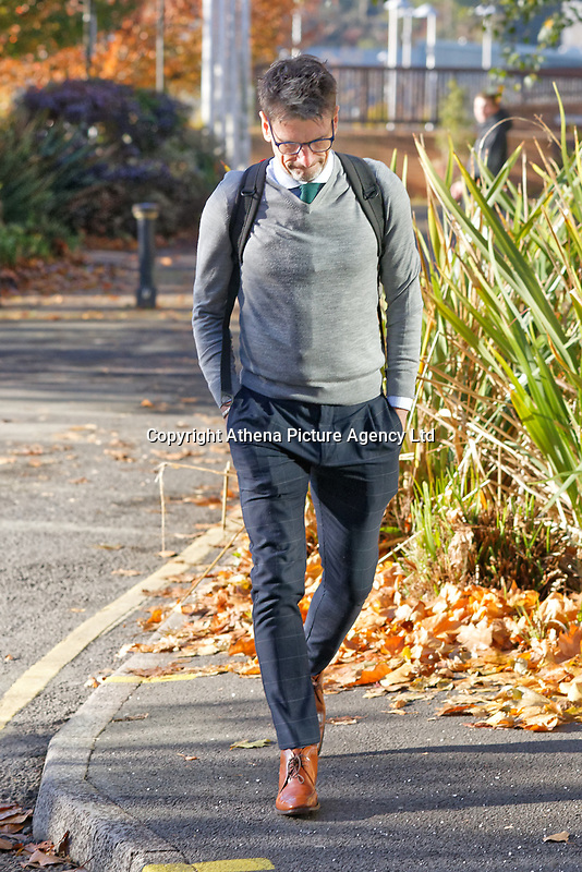 Pictured: Michael Cope arrives at Merthyr Crown Court, south Wales, UK. Friday 02 November 2018<br /> Re: Three men who defrauded the NHS are due to be sentenced at Merthyr Crown Court, Wales, UK.<br /> Michael Cope, 42, had denied ensuring building contracts were awarded to a rotten company while working for Powys Teaching Health Board in 2015.<br /> His colleagues Mark Evill and Robert Howells previously pleaded guilty to the fraud, which cost taxpayers £1.4m to put right.<br /> Cope claimed he knew nothing about the scam but was convicted at Merthyr Tydfil Crown Court..<br /> Together, they awarded construction contracts to a company Evill set up called George Morgan Limited.<br /> The court was told the work carried out by the firm was so poor it cost £1.4m to fix.<br /> Evill spent the company's profits on holidays to Dubai, expensive watches, property, and cars, including a vehicle for Howells for helping him.<br /> To hide his involvement in the scam, Evill used the names Paul Hewson and David Evans in emails - the real names of Bono and The Edge from U2.