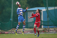 Jamall Doztsi of Ilford and Jack Leachman of Walthamstow during Ilford vs Walthamstow, Essex Senior League Football at Cricklefields Stadium on 6th October 2018