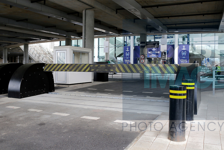 A saftey barrier is up around the stadium amid heightened security - Champions League Final preview pictures - Wembley Stadium - London - England -24/05/2013  - Pic David Klein/Sportimage