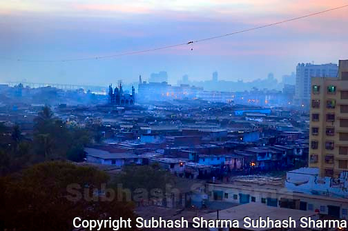 Dharavi : aerial view,Dharavi,Mumbai the largest slum in asia. Dharavi aerial view:Dharavi,Mumbai, the largest slum in Asia at dusk.