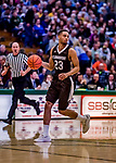 18 December 2018: St. Bonaventure University Bonnies Guard Jalen Poyser, a Junior from Malton, Ontario, in action against the University of Vermont Catamounts at Patrick Gymnasium in Burlington, Vermont. The Catamounts defeated the Bonnies 83-76 in a double-overtime NCAA DI game. Mandatory Credit: Ed Wolfstein Photo *** RAW (NEF) Image File Available ***