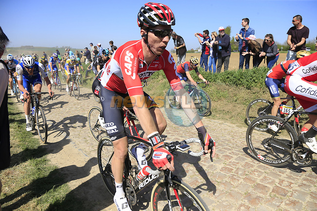 The peloton including Lars Ytting Bak (DEN) Lotto-Soudal on pave sector 25 Briastre a Solesmes during the 115th edition of the Paris-Roubaix 2017 race running 257km Compiegne to Roubaix, France. 9th April 2017.<br /> Picture: Eoin Clarke | Cyclefile<br /> <br /> <br /> All photos usage must carry mandatory copyright credit (&copy; Cyclefile | Eoin Clarke)
